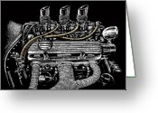 Hot Rod Drawings Greeting Cards - Bloodlines Greeting Card by Bomonster