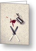 Bloody Greeting Cards - Bloody Dining Table Greeting Card by Joana Kruse
