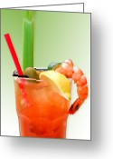 Alcohol Greeting Cards - Bloody Mary Hand-Crafted Greeting Card by Christine Till