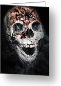 Sinister Greeting Cards - Bloody Skull Greeting Card by Joana Kruse