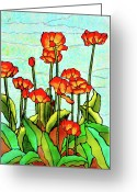 Tulips Glass Art Greeting Cards - Blooming Flowers Greeting Card by Farah Faizal