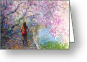 Girl On Bike Greeting Cards - Blossom Alley Impressionistic painting Greeting Card by Svetlana Novikova