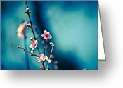 Flower Blossom Greeting Cards - Blossom Blues Greeting Card by Neil Ratnavira