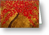 Style Reliefs Greeting Cards - Blossom Original Impasto palette knife abstract painting Cherry Tree Greeting Card by Aboli Salunkhe