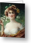 Half Length Greeting Cards - Blossoming Beauty Greeting Card by Emile Vernon