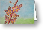 Red Leaves Pastels Greeting Cards - Blossoms Flowers  Greeting Card by Thuraya R