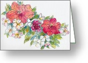 South Seas Greeting Cards - Blossoms of French Polynesia Greeting Card by Pat Katz