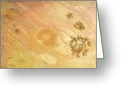 Spontaneous Greeting Cards - BLOWING IN THE WIND a mixed media abstract of sand and stars Greeting Card by Phil Albone