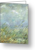 Abstract Landscapes Greeting Cards - Blowing In The Wind Greeting Card by Frances Marino
