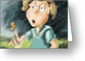 Little Boy Greeting Cards - Blowing in the Wind Greeting Card by Hank Nunes