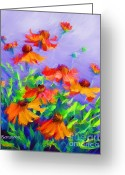 Abstract Expressionism Greeting Cards - Blowing In The Wind Greeting Card by Zeana Romanovna