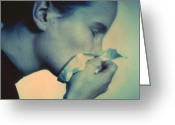 Womanly Greeting Cards - Blowing Nose Greeting Card by Cristina Pedrazzini