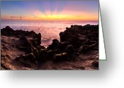 Florida Bridge Greeting Cards - Blowing Rocks Greeting Card by Debra and Dave Vanderlaan