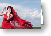Brown Hair Greeting Cards - Blown Away Woman in Red Series Greeting Card by Cindy Singleton
