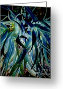 Blue Leaves Greeting Cards - Blue abstract art LorX Greeting Card by Rebecca Margraf