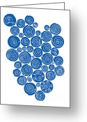 Contemporary Drawings Greeting Cards - Blue Abstract Greeting Card by Frank Tschakert