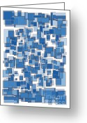 Blue Quilts Greeting Cards - Blue Abstract Patches Greeting Card by Frank Tschakert