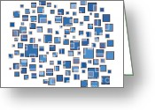 Brown Drawings Greeting Cards - Blue Abstract Rectangles Greeting Card by Frank Tschakert