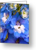 Purples Digital Art Greeting Cards - Blue Greeting Card by Amanda Kiplinger