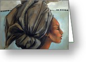 Fabric Greeting Cards - Blue and Black Bead Headdress Greeting Card by Jacque Hudson-Roate