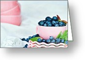 Overflowing Greeting Cards - Blue and Pink Greeting Card by Stephanie Frey