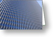 Building Detail Greeting Cards - Blue and Silver Greeting Card by Kelley King