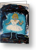 White Dress Drawings Greeting Cards - Blue and White Ballerina Greeting Card by Mary Carol Williams