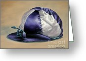 Betting Greeting Cards - Blue and White Jockey Cap Greeting Card by Thomas Allen Pauly