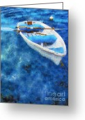 Paddles Greeting Cards - Blue and White. Lonely Boat. Impressionism Greeting Card by Jenny Rainbow