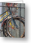 Wheels Greeting Cards - Blue and Yellow Bikes Greeting Card by Lauri Novak