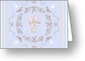 Angel Greeting Cards - Blue Angel Greeting Card by Rosemary Babikan