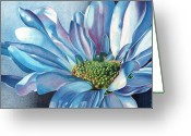 Daisies Greeting Cards - Blue Greeting Card by Angela Armano