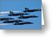 Jet Greeting Cards - Blue Angels Greeting Card by Adam Romanowicz