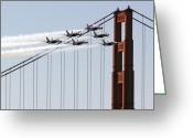 Usn Greeting Cards - Blue Angels and the Bridge Greeting Card by Bill Gallagher