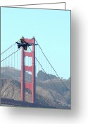 San Francisco Greeting Cards - Blue Angels Crossing the Golden Gate Bridge 3 Greeting Card by Wingsdomain Art and Photography