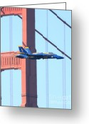 Hornet Greeting Cards - Blue Angels Crossing the Golden Gate Bridge Greeting Card by Wingsdomain Art and Photography