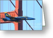 Ggbridge Greeting Cards - Blue Angels F-18 Super Hornet . 7D8045 Greeting Card by Wingsdomain Art and Photography