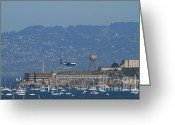 Alcatraz Greeting Cards - Blue Angels Fat Albert C130T Hercules Across San Francisco Alcatraz . 7D7937 Greeting Card by Wingsdomain Art and Photography
