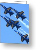 San Francisco Greeting Cards - Blue Angels leaving a white trail Greeting Card by Wingsdomain Art and Photography