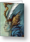 Headdress Greeting Cards - Blue Art Deco Indian Headdress Hood Ornamental Greeting Card by Jacque Hudson-Roate