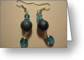 Earrings Jewelry Greeting Cards - Blue Ball Sparkle Earrings Greeting Card by Jenna Green