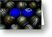 Basketball Greeting Cards - Blue Balls Greeting Card by Ed Smith