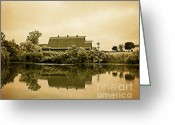 Barns In Indiana Greeting Cards - Blue Barn St. Patricks Park Greeting Card by Melissa Moore-Clingenpeel