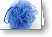 Body Scrub Greeting Cards - Blue bath puff Greeting Card by Blink Images