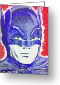 Old Tv Painting Greeting Cards - Blue Batman Greeting Card by Ronald Greer