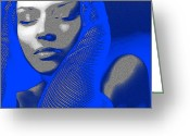 Makeup Greeting Cards - Blue Beauty Greeting Card by Irina  March