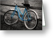 Selective Color Greeting Cards - Blue Bike Greeting Card by Brian Mollenkopf