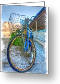Antique Basket Greeting Cards - Blue Bike Greeting Card by Debra and Dave Vanderlaan