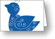 Wall Art Drawings Greeting Cards - Blue Bird Greeting Card by Frank Tschakert