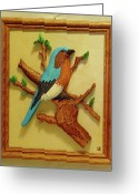 Wildlife Sculpture Greeting Cards - Blue-Bird  Greeting Card by Russell Ellingsworth
